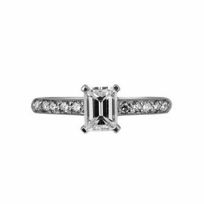 Emerald Cut Diamond Solitaire Ring 0.87ct